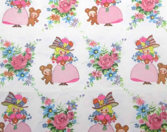 Vintage Wrapping Paper or Gift Wrap with Girl in Fancy Pink Dress and Hats Holding Bouquet of Flowers with Bear Roses