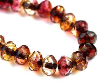 Czech Glass Beads Fire Polished Gemstone Donuts 5x7mm Crystal Fuchsia Picasso (12) CZF742