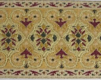 2 yards BAGHDAD wide Jacquard trim cream green burgundy gold on cream. 359-A