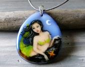 Mermaid on the rock - fused glass pendant - mermaid nekclace