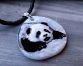 Cute Baby panda - Fused glass pendant