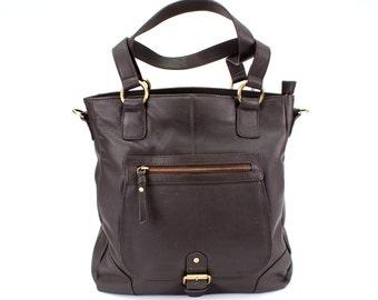 Leather Handbag Tote Shoulder Bag, Dark Brown