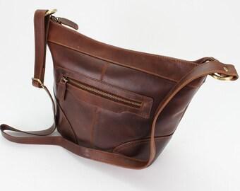 Leather Cross Body Purse, Brown bucket bag