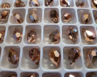 4 Beautiful Preciosa Gold Glass Drops C26