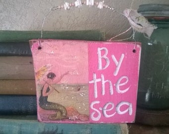 Vintage Mermaid Wood Sign BY THE SEA Beach Surf  Pink shells and lots of glitter
