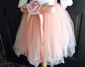 Girls blush Tutu, Girls Blush Pink Long Tulle Skirt , Blush Pink  Tutu, Pink wedding , Girls Tutu, Flower girl dress