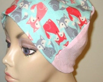 FREE SHIP USA Flannel Foxes  Sleep Cap, Adult or Kids Chemo Hat, Cancer Cap, Alopecia