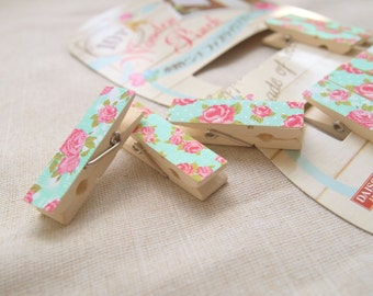 Wood clothespins - 10 pcs rose pattern clothespins (convenient way to do handmade)