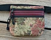 SALE: Flat Mini Waist Bag - Burgundy Leather Trim - Leaf Tapestry - Fanny Pack - Handmade in Oregon
