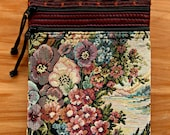 SALE: Shoulderbag - Pansy Garden on the Lake Tapestry and Leather - Flat Purse (medium) - Handmade in Oregon