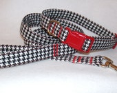 Handcrafted Houndstooth Black and White  Collar & Leash Set - Limited