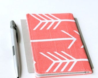 Coral Check Book Cover, Arrow Print Fabric Checkbook Covers, Coworker Gift Under 25,