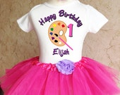 Finger Paint Palette brush party first 1st 2nd 3rd 4th 5th 6th 7th Birthday Personalized Custom Name Age Shirt & Tutu Set Girl Outfit
