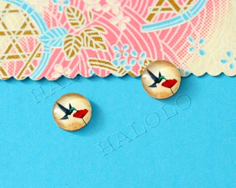 Sale - 10pcs handmade hummingbird round clear glass dome cabochons 12mm (12-0338)