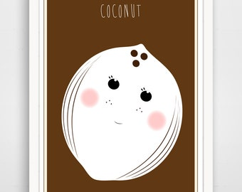 Children's Wall Art / Nursery Decor Brown Coconut  print by Finny and Zook