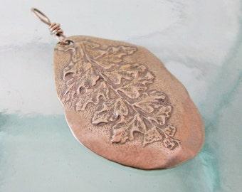 Natural Fern Pendant in White Bronze