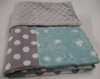 Whales You Are My Sunshine Aqua and Gray Chevron and Dots Minky Blanket You Choose Size MADE TO ORDER No Batting