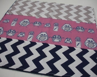 Manly Owls Hot Pink Navy and Gray Receiving Blanket with Navy Minky 17 x 17 READY TO SHIP