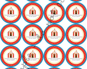 "INSTANT DOWNLOAD / Circus Carnival Party 2"" printable Party Circles / Cupcake Topper / Stickers / Thank You Tags"