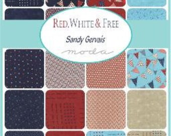 RED WHITE and FREE - Moda Fabric Charm Pack - Five Inch Quilt Squares Quilting Material Blocks