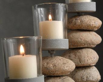 Pebble Stone Rocks Candleholders set of three