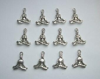 10 Yoga Girl Meditation Lotus Position Charms