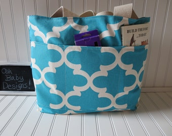 Reversible Quatrefoil Teacher Tote Bag - Navy Quatrefoil Teacher Bag - Blue Quatrefoil Tote - Tote With Pockets - Large Teacher Gift Tote