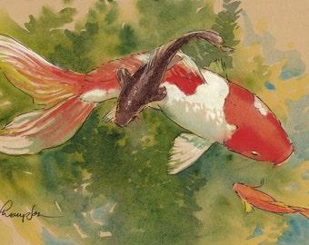 Goldfish Pair 6 x 10 inch art print