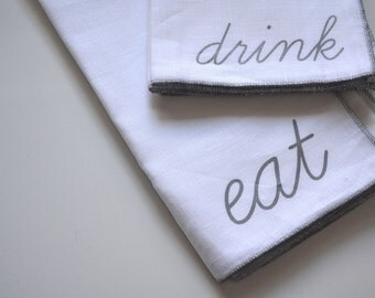 Eat Cloth Napkins, set of four, Silkscreened, Linen Napkins