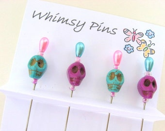 Skull Beaded Decorative Stick Pins - Purple and Turquoise- Set of 4 - Gift Under 10 - For Crafting, Scrapbooking, Sewing
