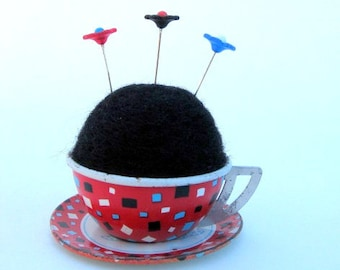 SHOP CLOSING SALE - Pin Cushion - Needle Felted - In Vintage Child's Tin Tea Cup With Saucer - Red, White, Blue, Black