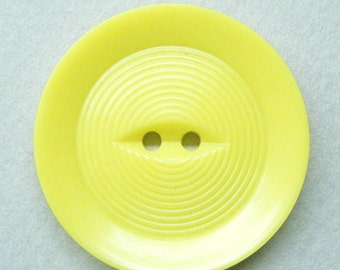 Vintage button, large button, yellow button