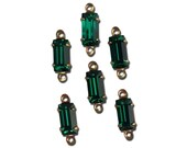 Vintage Emerald Faceted Baguette Glass Stones 2 Loop Brass Settings 8x4mm bag001A2