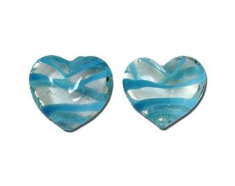 Transparent Light Blue Striped Glass Hearts  25x22mm (2) gyb012F