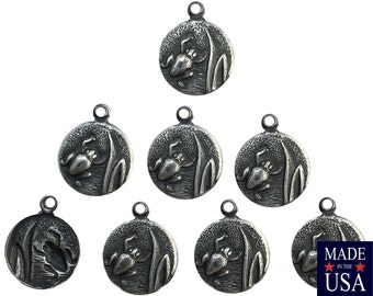 Matte Silver Ox Plated Frog in Reeds Charm Drops with Loop (8) chr051U