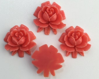 Vintage Style Peach Coral Rosebud Rose Cabochons 18mm (4) cab266C