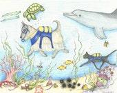SCUBA Scottie Dog Illustration, #2, Scottie Dog Art, Coral Reef, Print