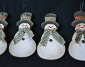 4 PRIMITIVE SNOWMEN Christmas/Winter Ornaments ~ Hand made and painted of wood ~ U.S.A.