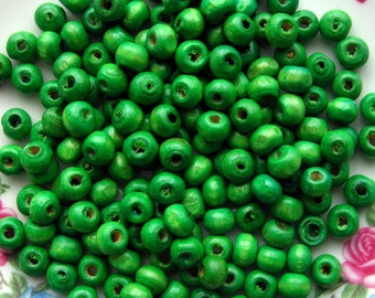6mm Green Wooden Beads - Over 150 - 6mm Bright Green Wood Beads, Lead Free (WBD0040)