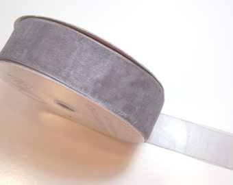 Charcoal Gray Ribbon, Asiana Pewter Organza Ribbon 1 1/2 Inches Wide x 10 yards, Offray Simply Sheer