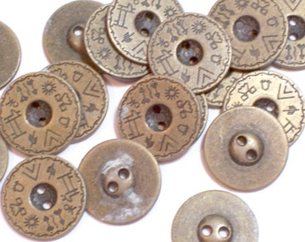 Brass Buttons, Vintage Brasstone Metal Buttons 13/16 inch diameter x 20 pieces 2 Hole, Hieroglyphics, Solid Metal