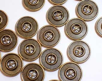 Gold Buttons, Vintage Goldtone Metal Sewing Buttons 7/8 inch(22 mm) diameter x 20 pieces, 4 hole buttons