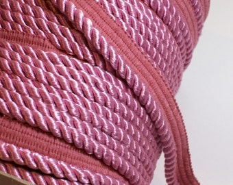 Pink Cord, Rose Pink Braided Lip Cord Trim 3/8 inch wide x 3 yards