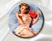 "Pocket Mirror, Magnet or Pinback Button - Shower Favors, Bridesmaid, Wedding - 2.25""-  Vintage Pinup Girl Dear Diary MR165"