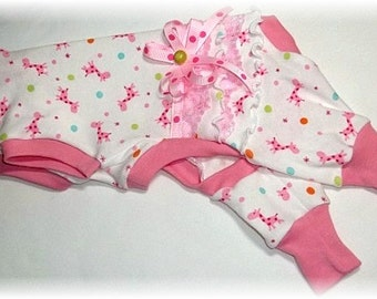 Pet Clothing To Order Ruffled Bum Pajamas Pink Giraffes, Blue Faries