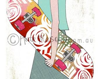 Sk8er Skateboard Girl ART PRINT