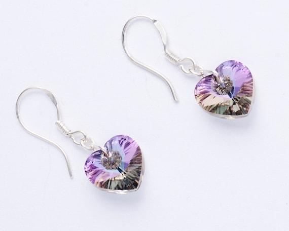 Lilac AB Swarovski Crystal Heart Drop Earrings