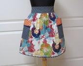 Womens Retro Half Apron, Handmade Modern Chic Cute Kitchen Waist Aprons Blue Green