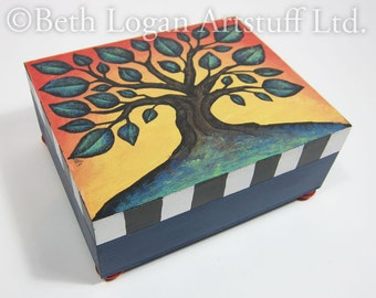 Hand-Painted Tree of Life Wooden Box