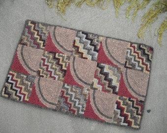Primitive Hand Hooked Wool Rug Vintage Inspired